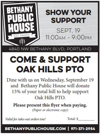 Bethany Public House - Oak Hills Elementary Dinner Night Out